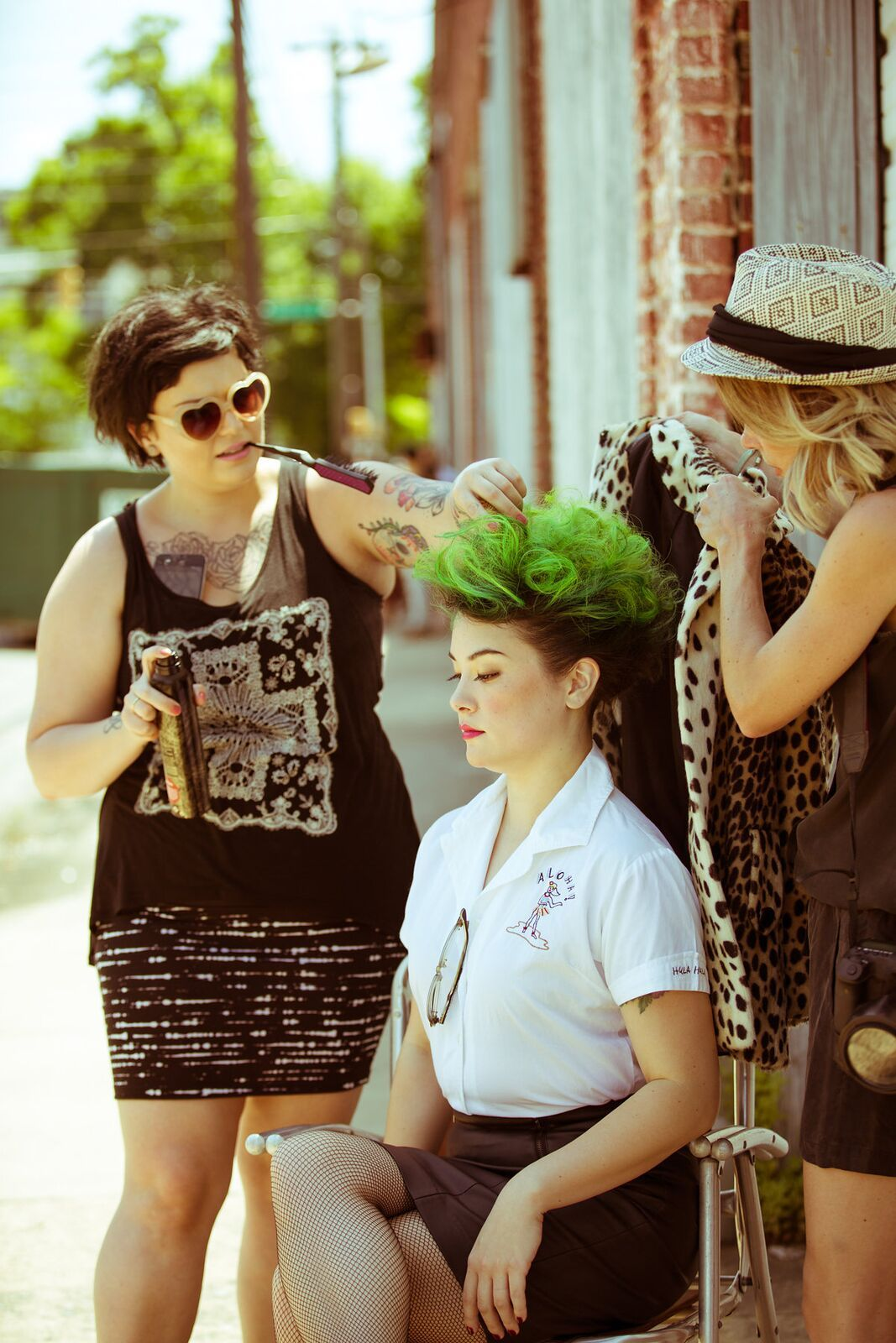 Retro punk with a modern twist. Behind the scenes at Wheelhouse's Style Starts at the Top shoot. Green hair styled using oribe and r + co products.