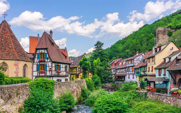 Download Wallpapers Kaysersberg Old Houses River Summer France Europe Besthqwallpapers Com Viajes A Francia Francia Casas Victorianas