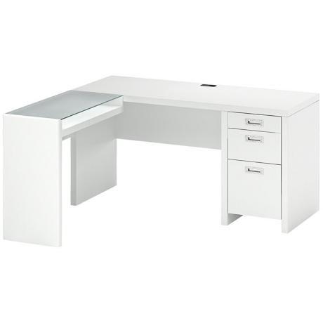Kathy Ireland New York Skyline Plumeria White L Desk Desk U