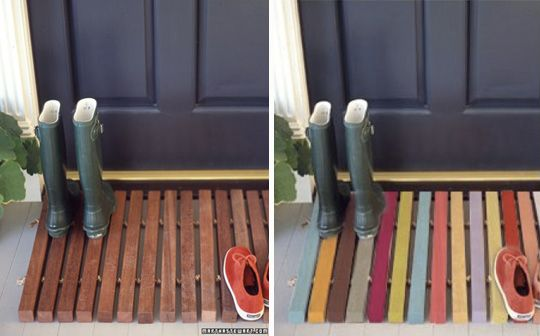 diy painted wood doormat