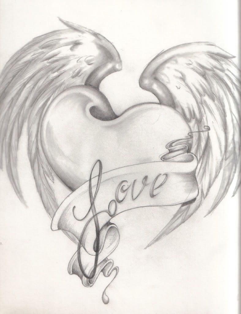 Images For Pencil Drawings Of Hearts And Flowers Pencil