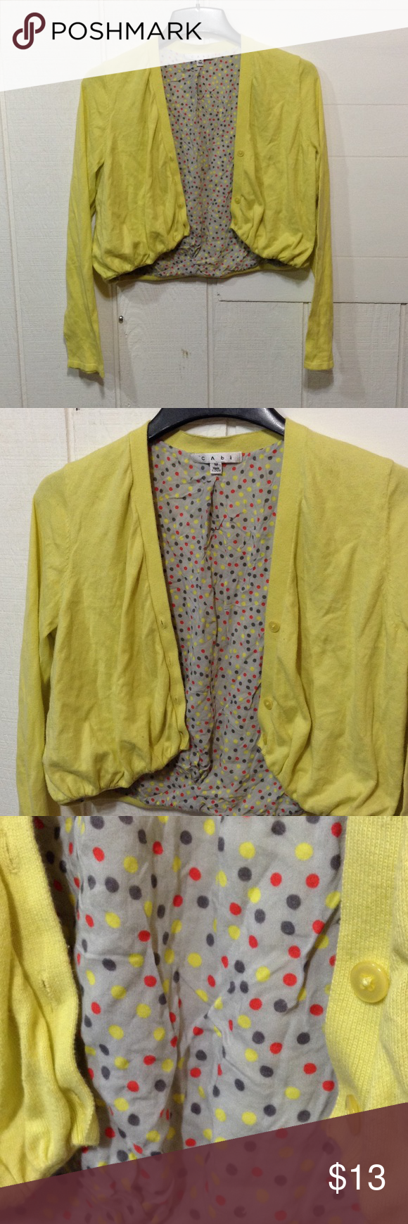 Yellow Cropped Cardigan CAbi brand. Size medium. Yellow, cropped ...