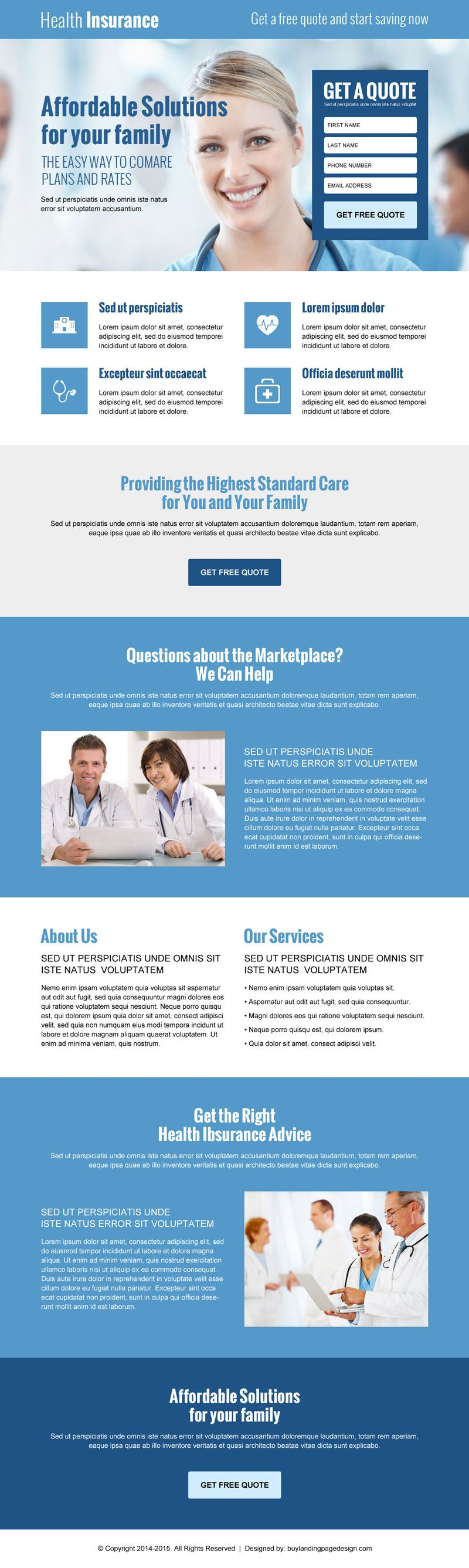 lead capture converting landing page design for health insurance ...
