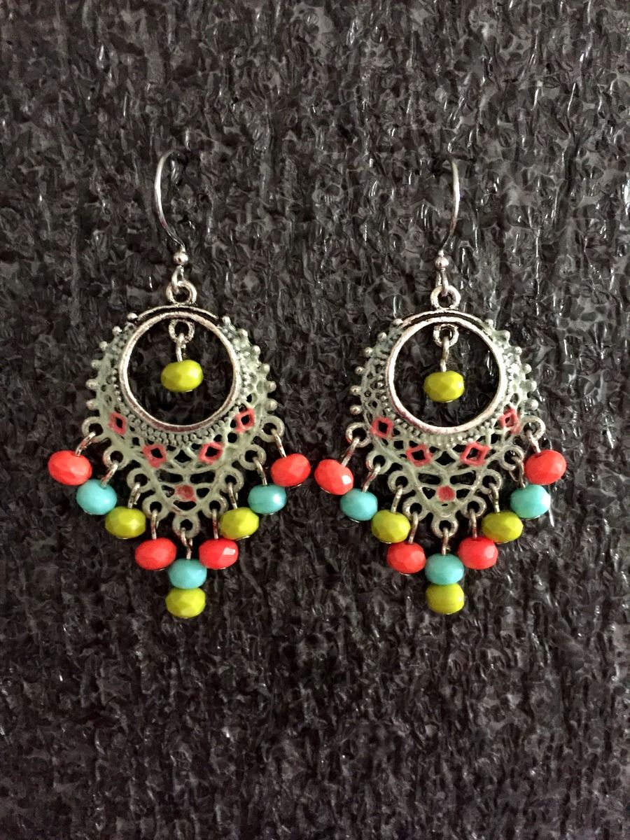 5f8e674d2 Shabby chic Earrings, Cottage chic Earrings, Beaded Earrings, Bohemian  Earrings, multi color Earrings, Tribal Earrings, Chandelier Earrings