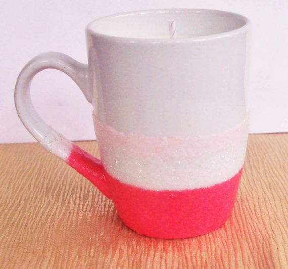 Coffee Mug with Soy Candle  Glitter Mug  by DancingWindDesigns