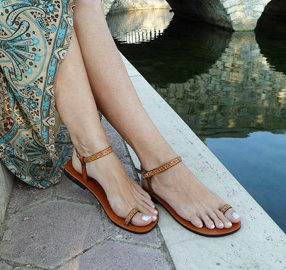 Barefoot Sandals Ankle Strap Sandals Toe Ring Sandals Flat