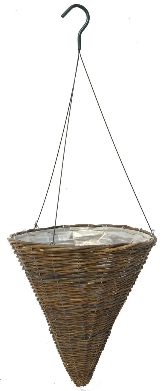 Willow Cone Hanging Basket With Wire Hanger 14 Hanging Baskets Basket Wire Hangers