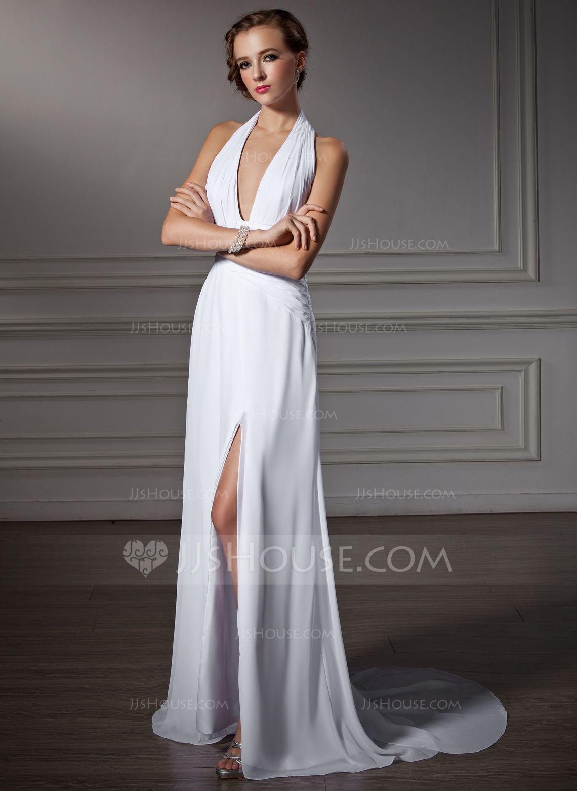 Alineprincess halter watteau train chiffon prom dress with ruffle