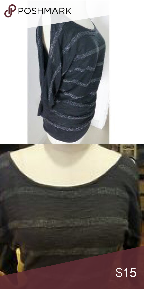 Sweater Gray and silver sparkly striped sweater. Express Sweaters Crew & Scoop Necks