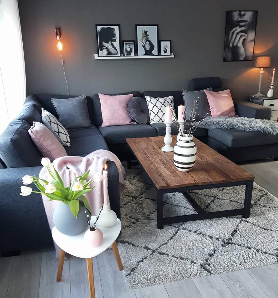 Pin von mary sweetser auf house inspo in 2019 room decor - Grey and blue living room furniture ...