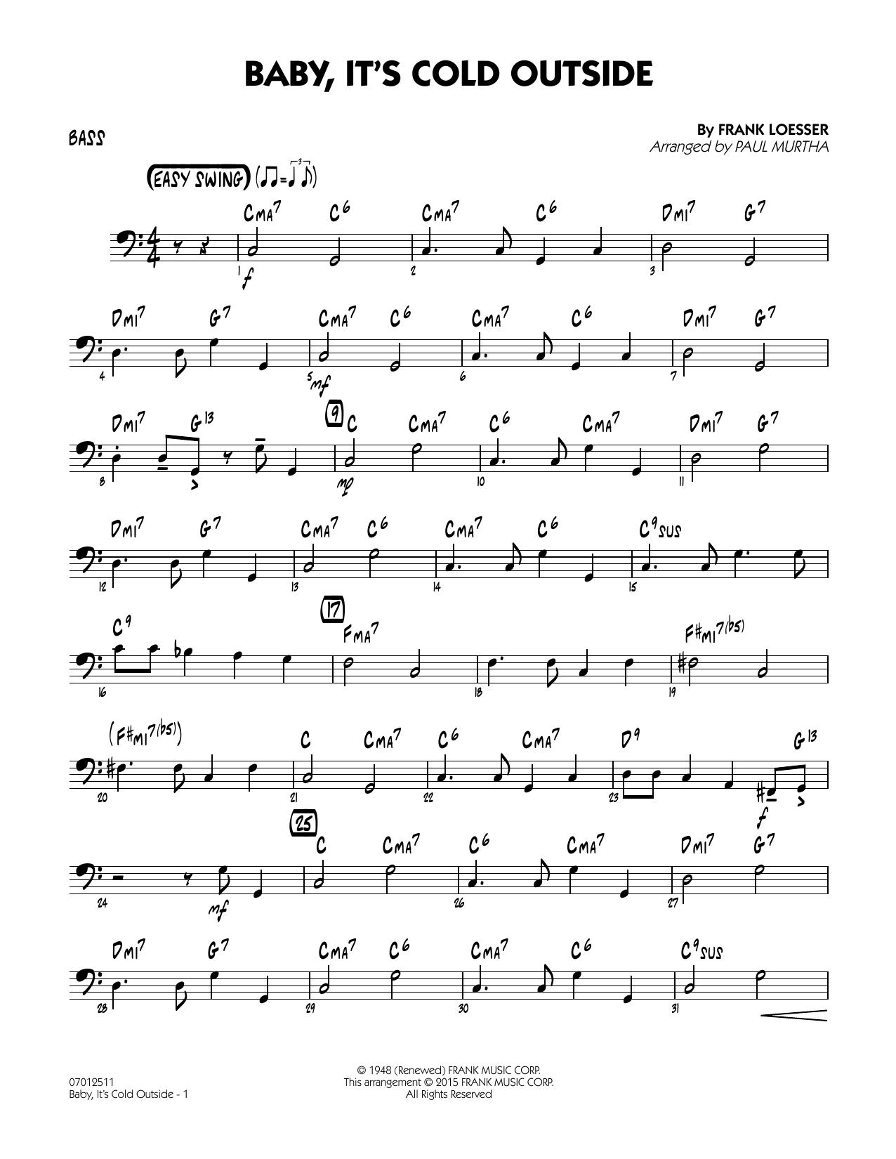 Paul Murtha 'Baby, It's Cold Outside Key C   Bass' Sheet Music ...