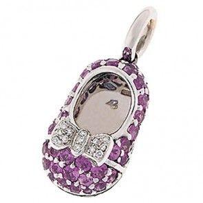Aaron Basha Baby Shoe Sapphires with Diamond Bow