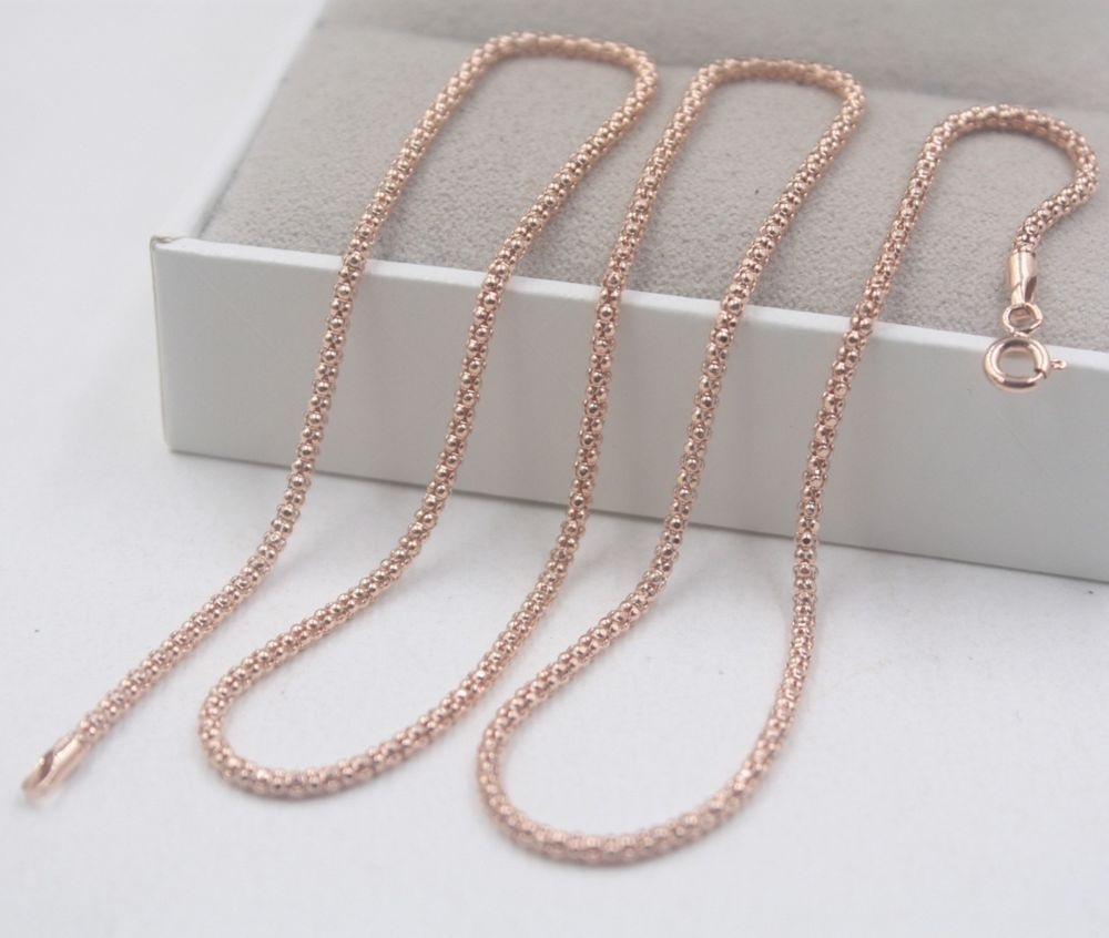 e1af2f08f924c Au750 Pure 18K Rose Gold Necklace Woman s Perfect Elegant Popcorn Chain  19.7