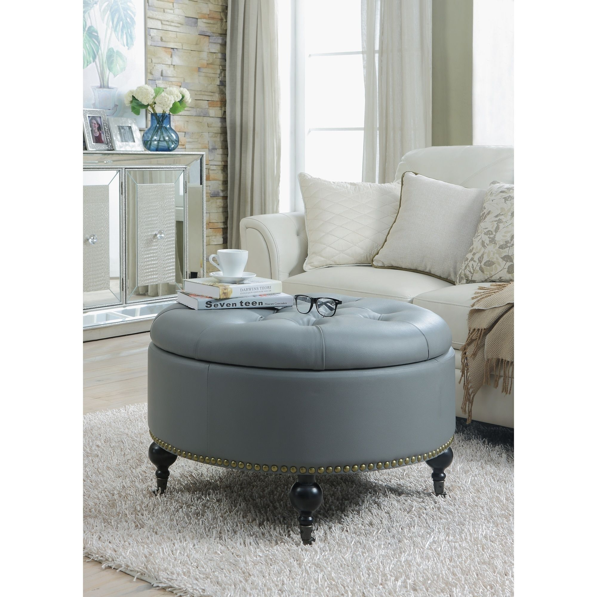 Storage Ottoman,Round Home Goods: Free Shipping On Orders Over $45 At  Overstock.