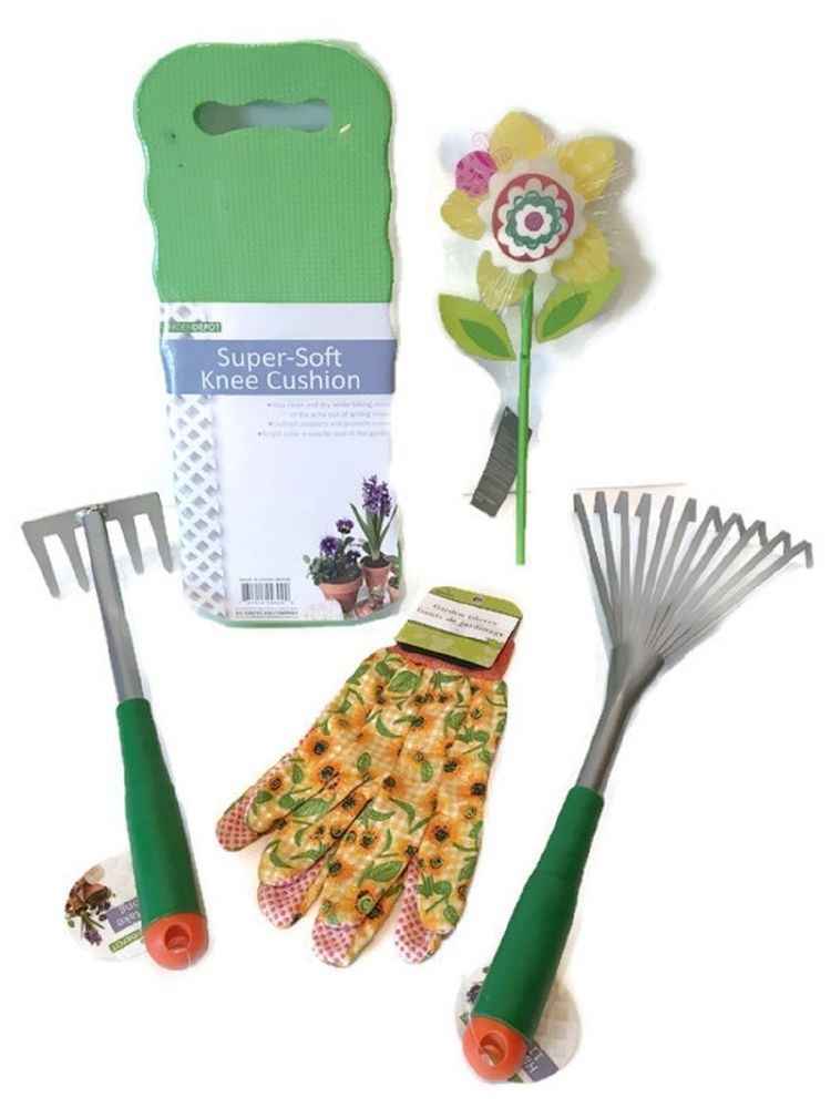 5 Piece Flower Garden Tool Set Hand Indoor Outdoor Containers ...