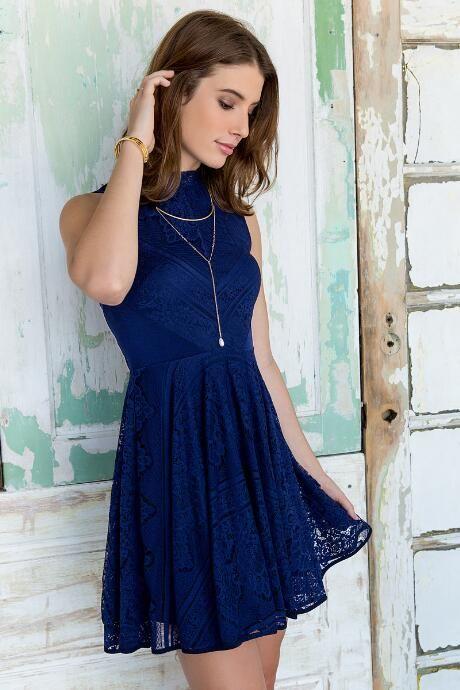 de30a38573 Navy Blue Christy Lace Dress