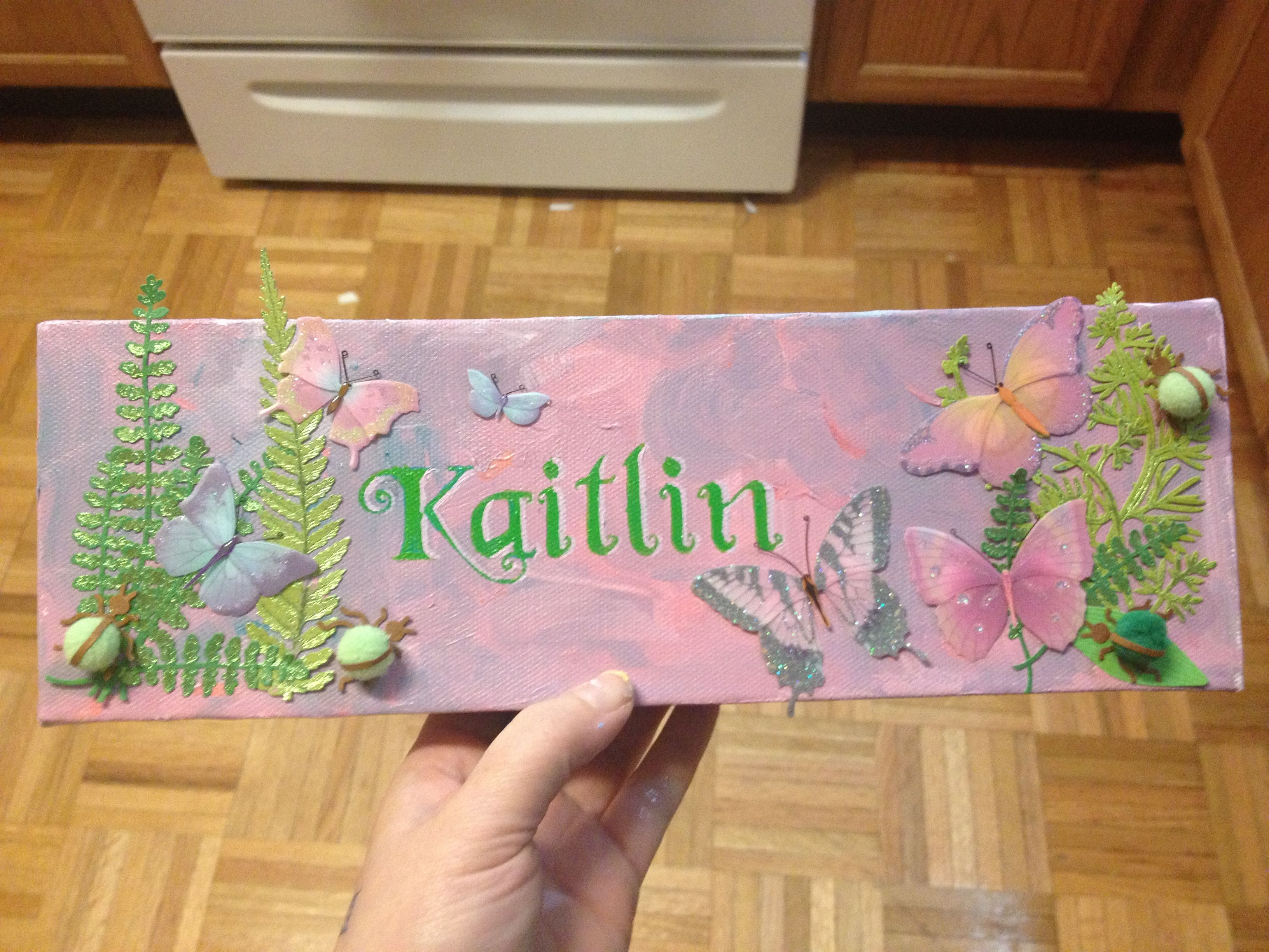 Scrapbook ideas names - Canvas Turned Into Name Plate For Wall Scrapbook Paper Stickers Font