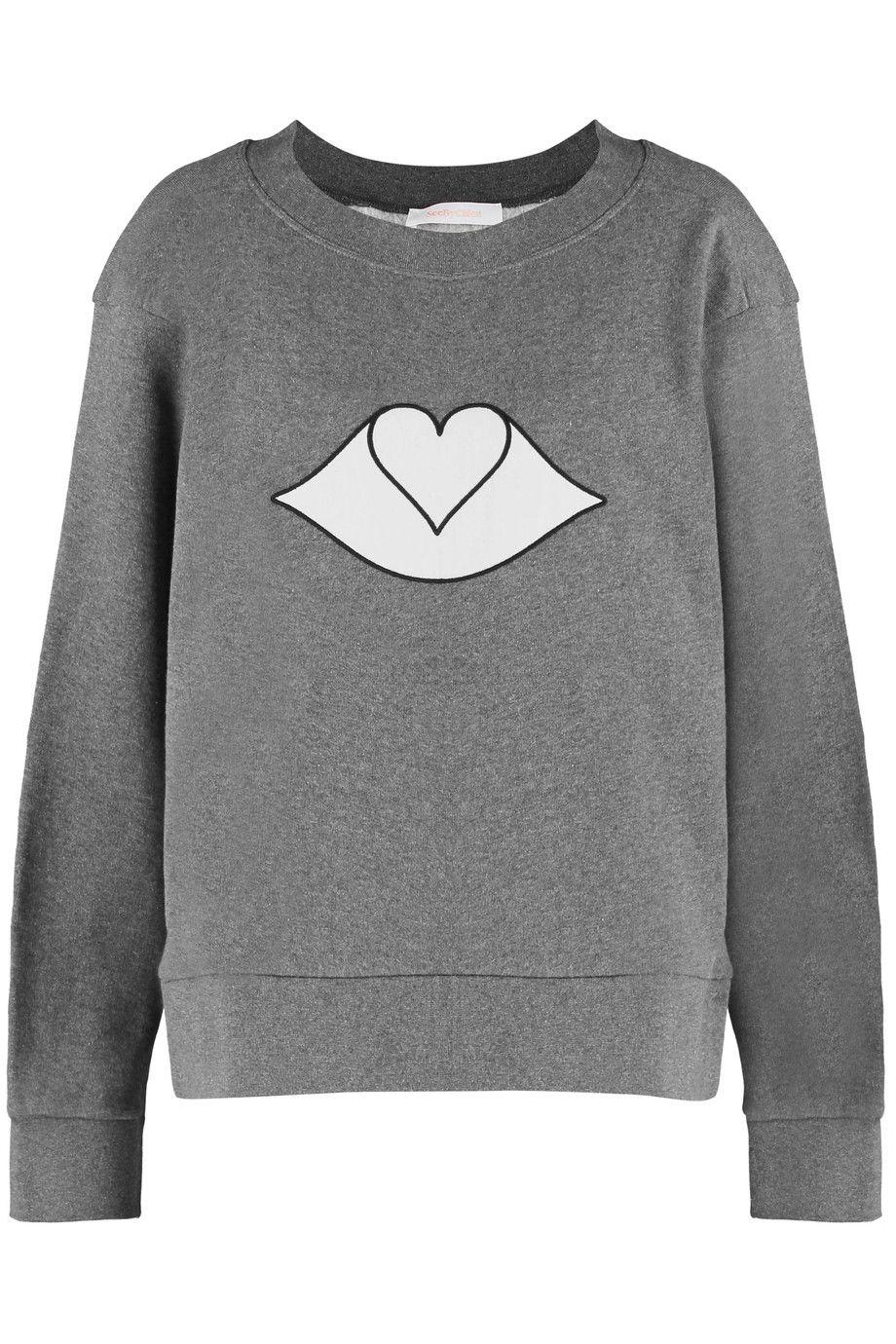 SEE BY CHLOÉ Appliquéd cotton-fleece sweatshirt. #seebychloé #cloth #sweatshirt