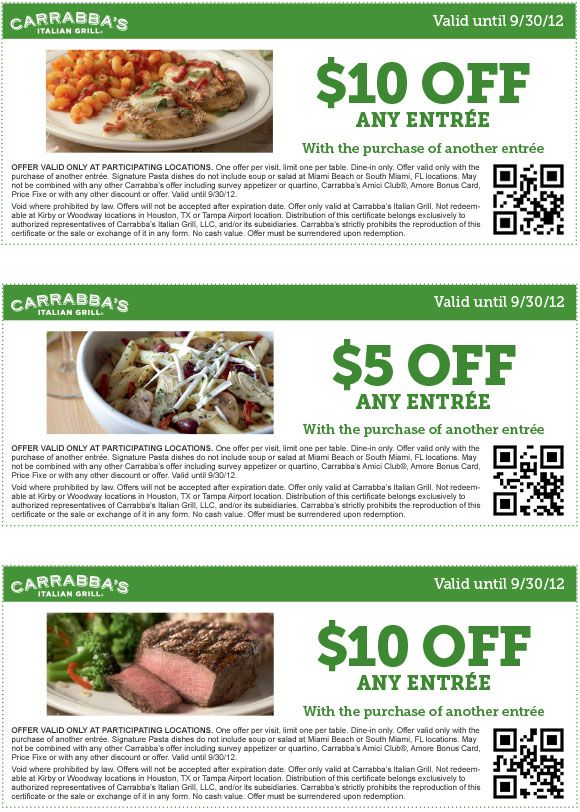 photo about Carrabba's Coupons Printable called $10 off a instant entree and even more at Carrabbas Italian grill