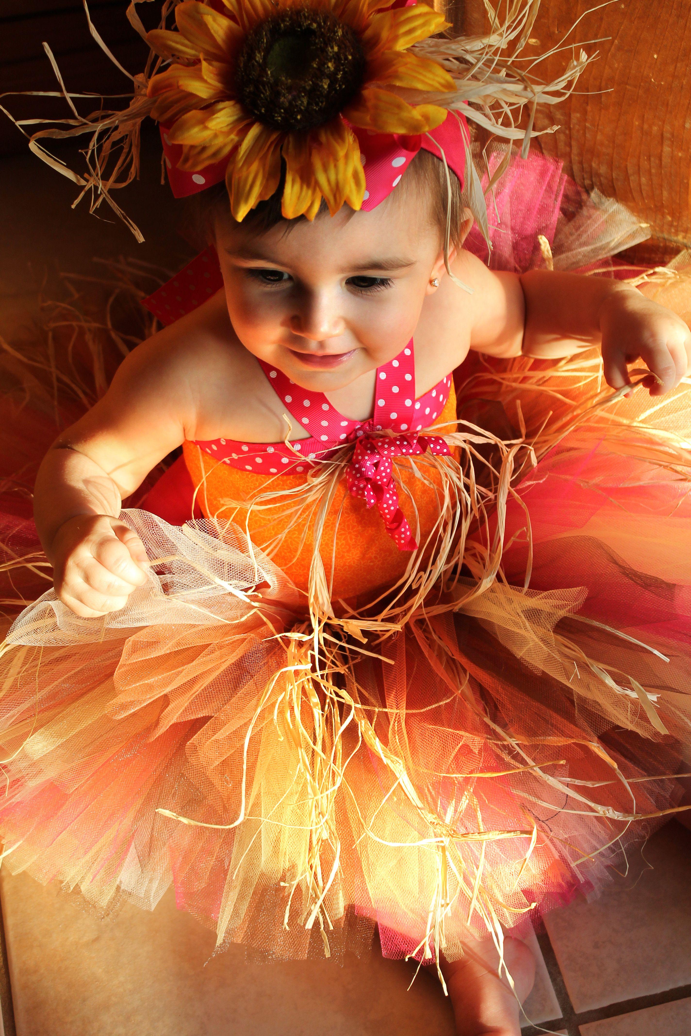 Top view. Baby portrait. Fall. Sunflower tutu.