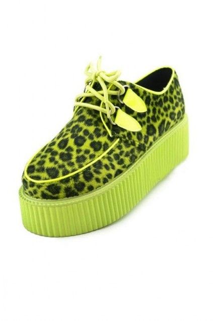 eec2690cdce Cheetah Pattern Lime Old School Platform Punk Rock Lace-Up Oxford Flat  Creeper Shoes  SH-CRP-CHEELIME-OX  -  69.99   GrabMyLook