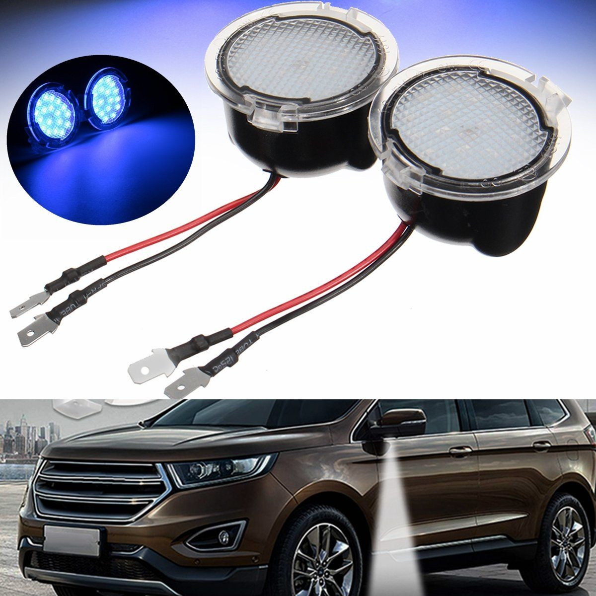 Pair White Led Side View Mirror Puddle Light For Ford Edge Mondeo