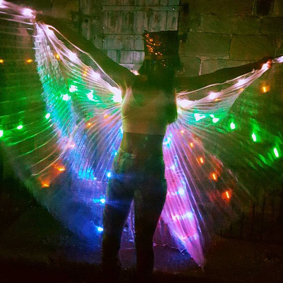 Rainbow LED Light Up Transparent Shiny Hologram Pleated Festival Dance Party Raver Carnival Butterfly Angel Fairy Wings Cape Large UK Seller wli8a4Vvus