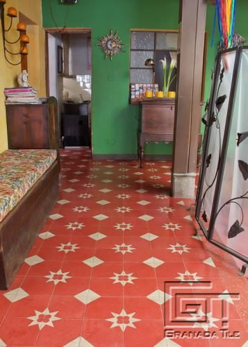 Simple but Charming Cement Tile Floor in Antigua, Guatemala