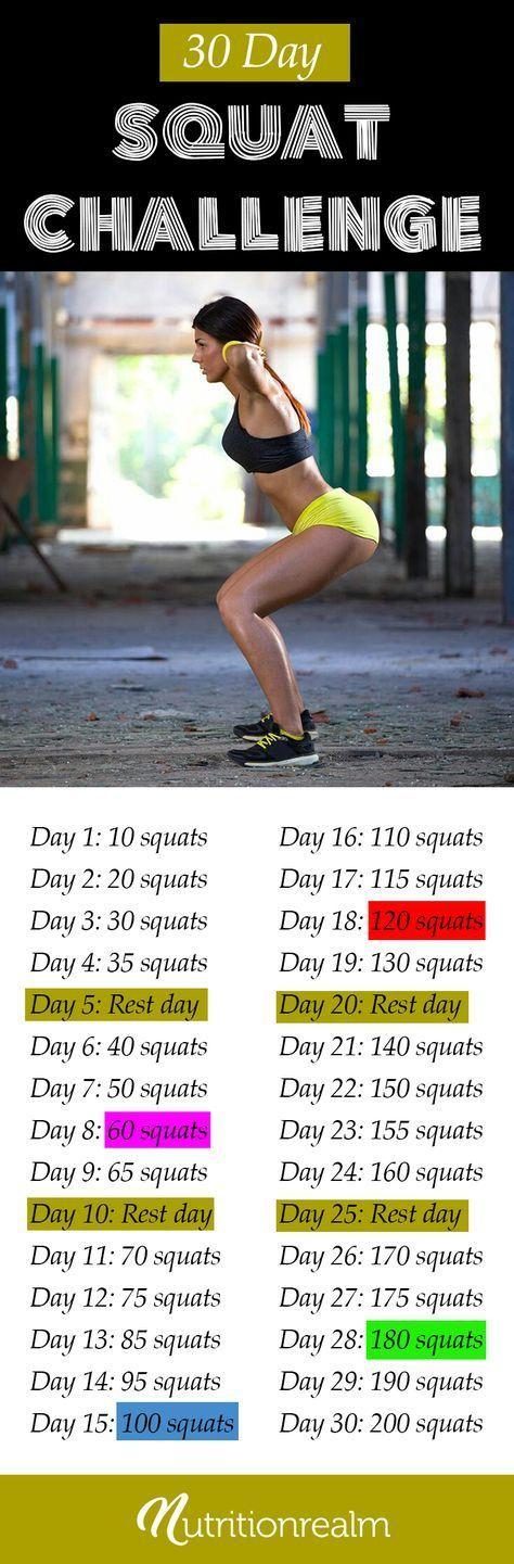 30 Day Squat Challenge | Squat Défi squat 30 jours Défi ...