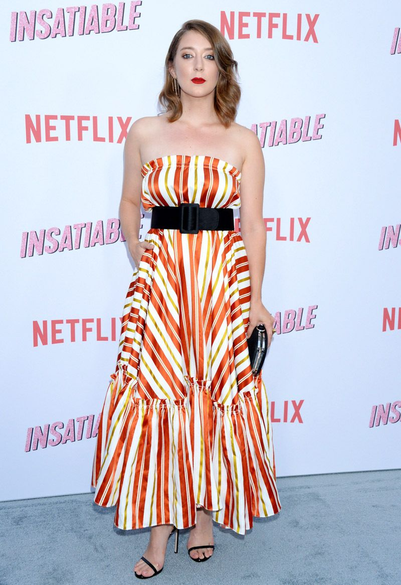 b4e7a8da3fb  Insatiable  star Kimmy Shields wore this candy-cane inspired dress to the  Netflix show s premiere.