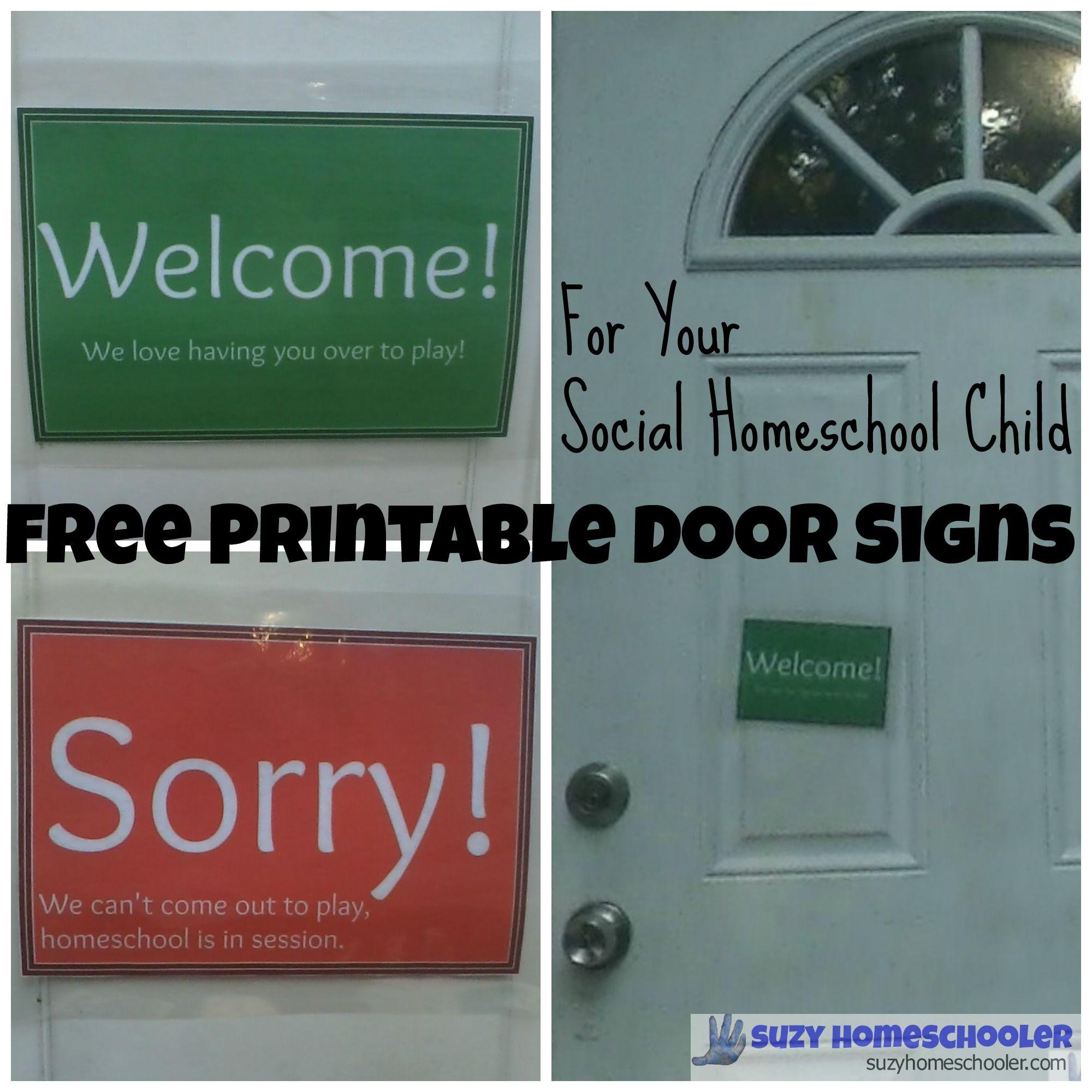 Free Printable Homeschool Door Signs 1