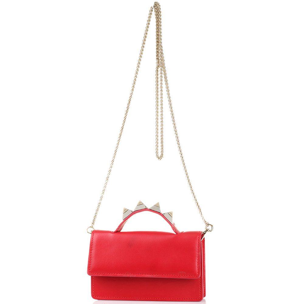 Cумочка-клатч красного цвета Salar Zoe с шипами на ручке
