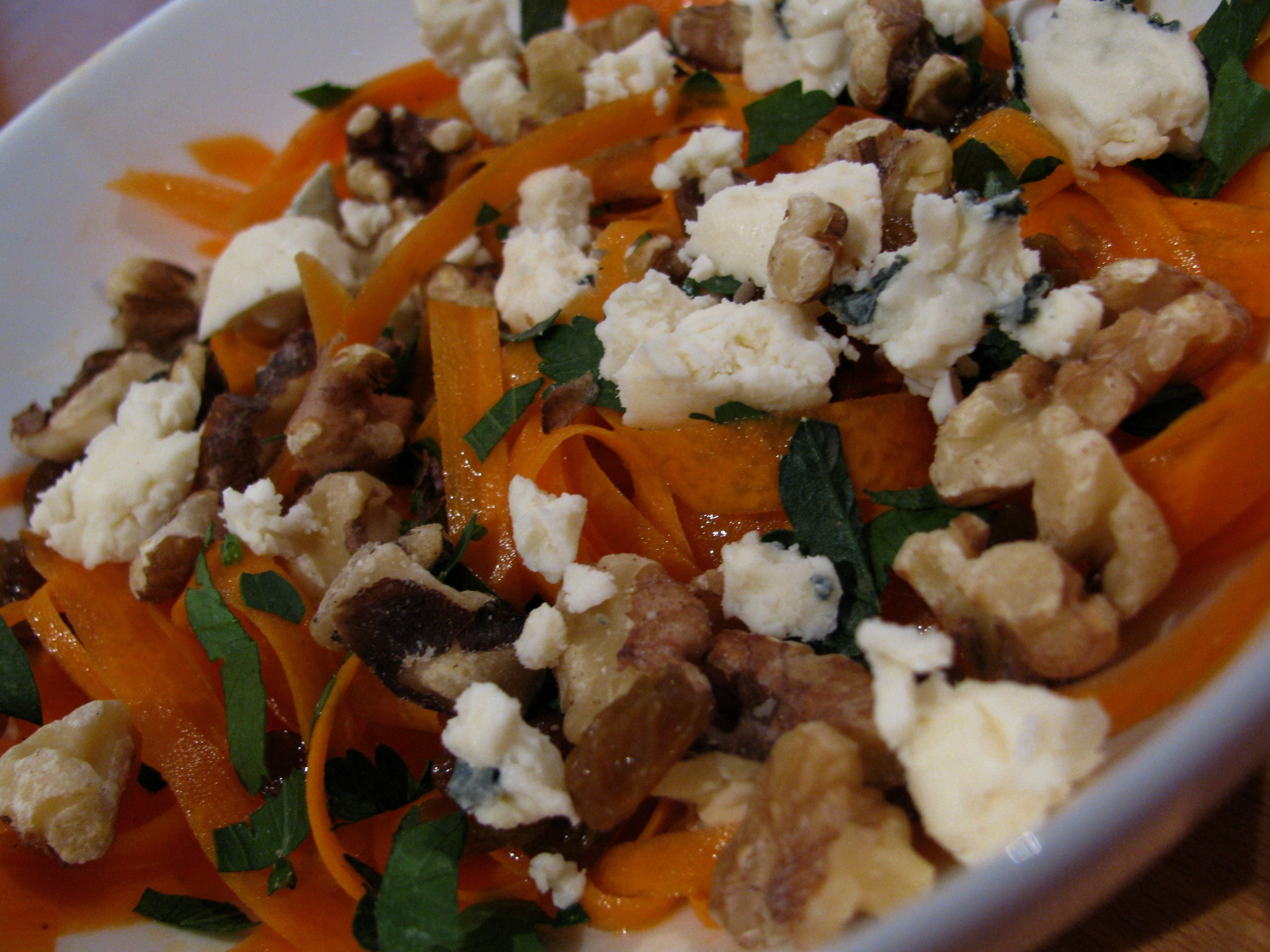 Carrot Raisin Salad with Walnuts and Blue Cheese.