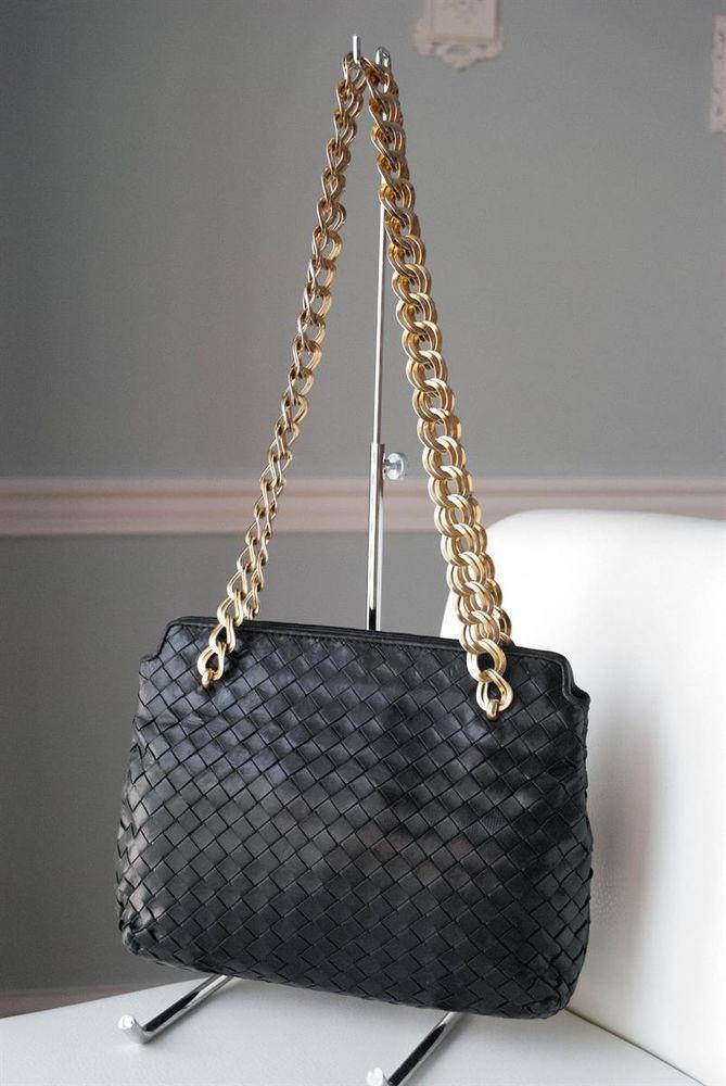 0cf9629bf9 Bottega Veneta Black Intrecciato Nappa Leather Chain Handbag Purse   BottegaVeneta  ShoulderBag