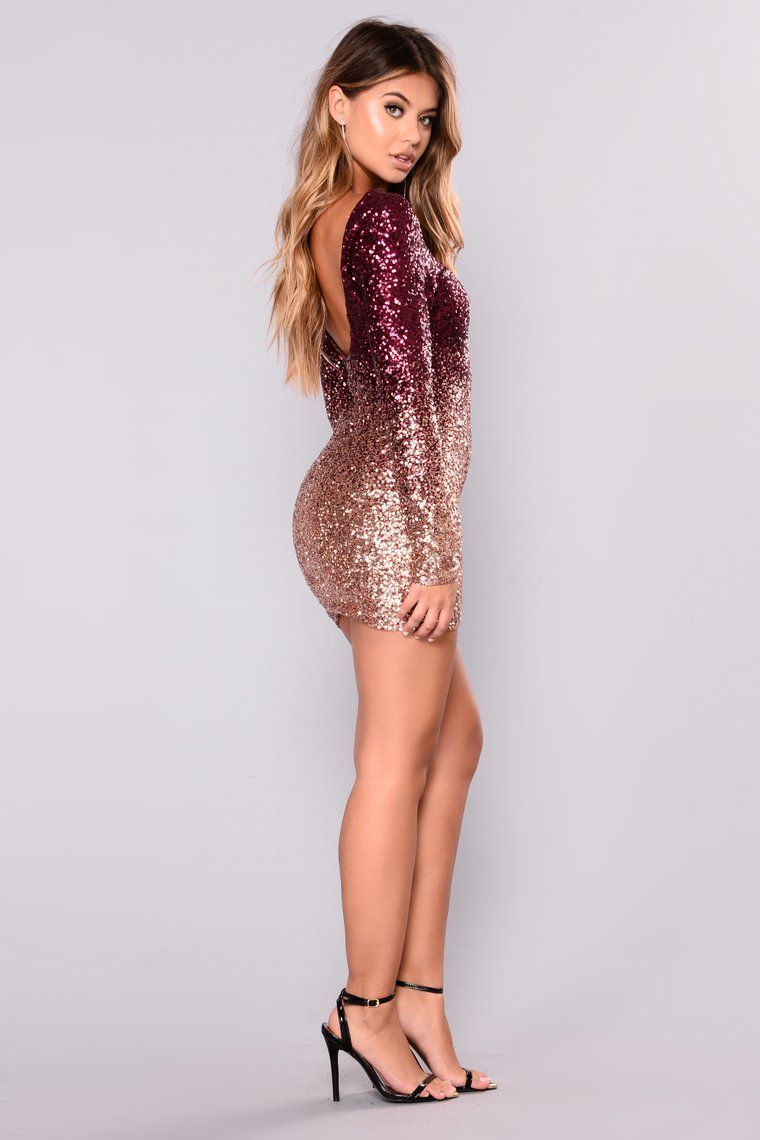 7b91cfec62 Wynn Sequin Dress - Burgundy Rose Gold