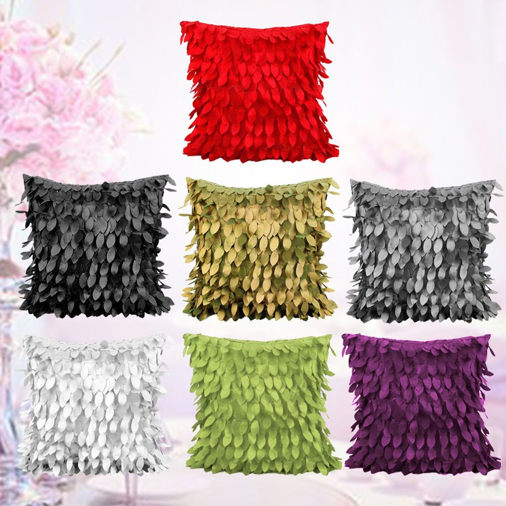 Knitted wedding decorations  D Fallen Leaves Couch Cushion Cover Home Throw Pillow Case Wedding