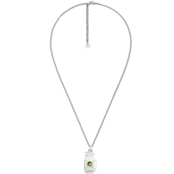 611994bef Gucci Guccighost Pineapple Necklace In Silver And Enamel ($285) ❤ liked on  Polyvore featuring