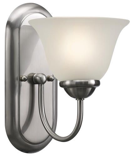 Patriot lighting irelyn 1 light 9 78 brushed nickel wall vanity light at menards