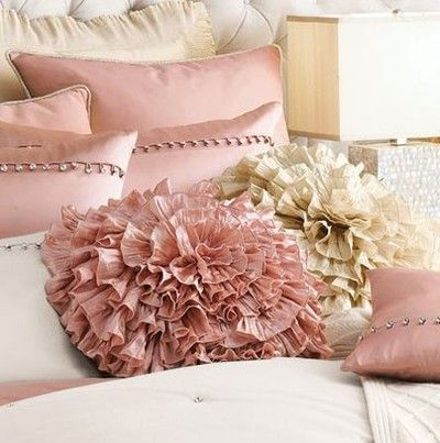 Pastel pink and beige pillows for the master bedroom or living room ...