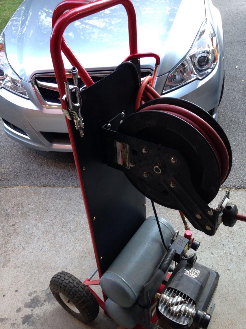 Diy Air compressor cart Garage organization, Garage