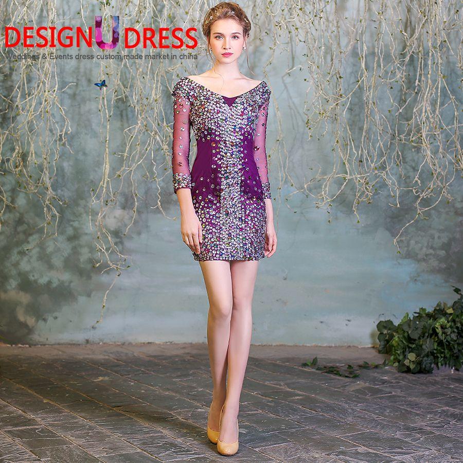 Desin U Dress 2017 Hot Sale V-neck Purple Crystal Short Mini Sexy ...