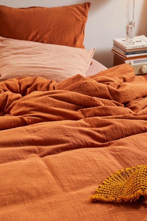 Cozy Slub Duvet Cover Orange Duvet Covers Duvet Covers Urban Outfitters Cotton Duvet Cover