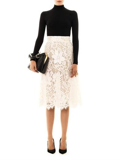 turtleneck and lace skirt