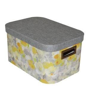 organizing essentials small oval lidded box-yellow floral