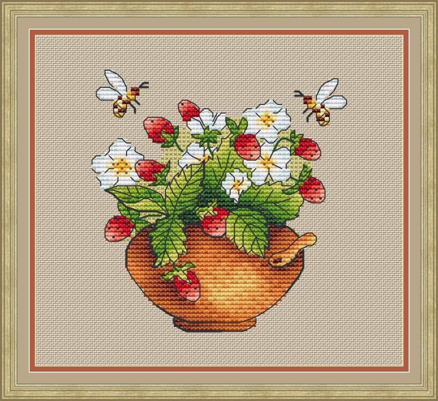 Strawberry Cross Stitch Pattern Pdf Instant Download Flower Etsy In 2021 Cross Stitch Patterns Rose Cross Stitch Pattern Cross Stitch Art