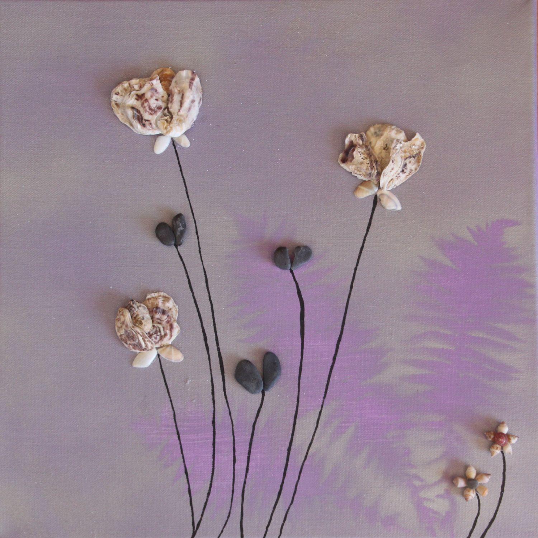 Leinwand stein bild flowers pebbleart geschenk ruhestand geburtstag hochzeit verlobung von - Steinbilder auf leinwand ...