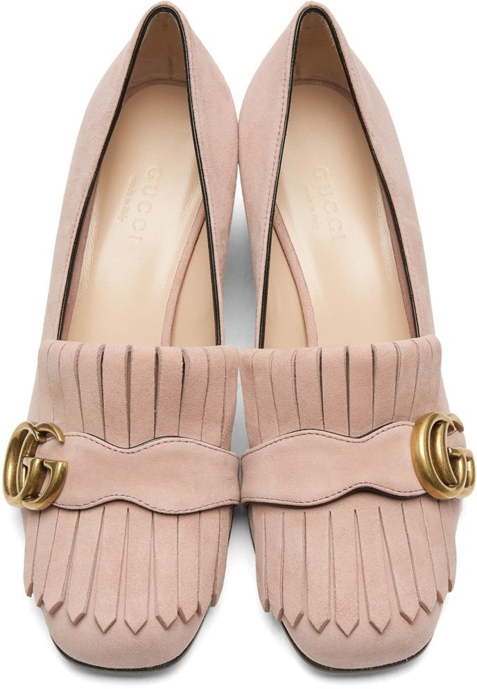 c42fb6c815d29 Gucci - Pink Suede GG Marmont Loafer Heels