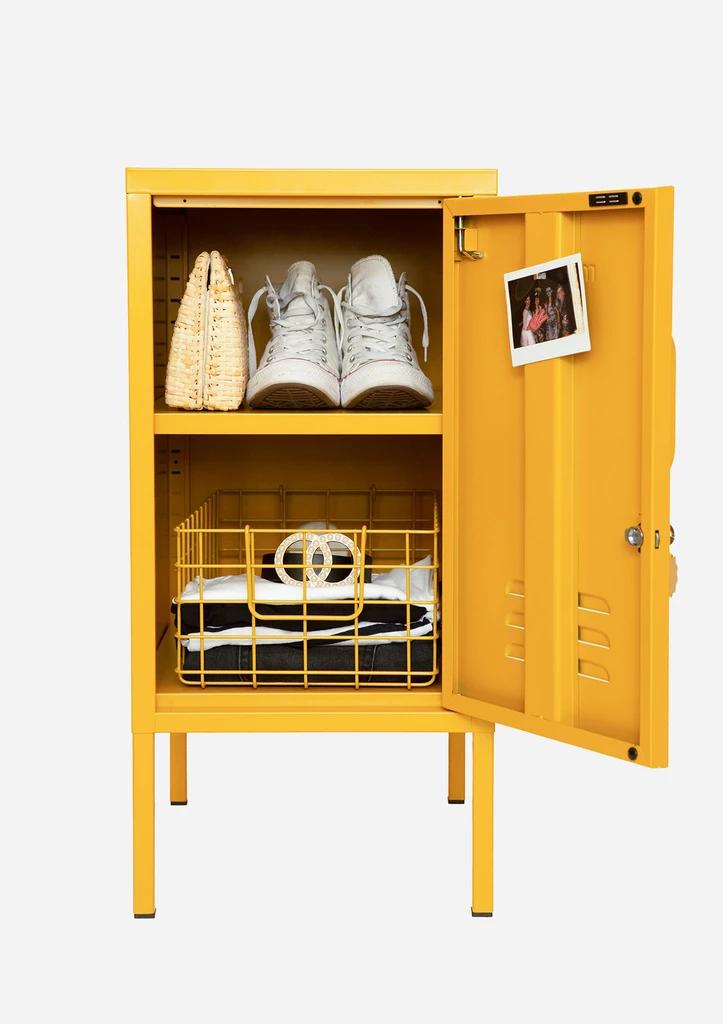 The Shorty Locker in Mustard Yellow Adjustable shelving