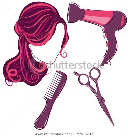 hair beauty clipart tools salon stylist cosmetology accessories vector beautician cartoon background dryer blow service brush hairdresser elements comb dry