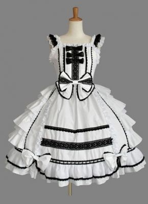 White Ruffled Straps with Lace Ruffles Multilayer Cotton Sweet Lolita Dress